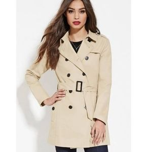 Khaki double breasted tie belt trench coat